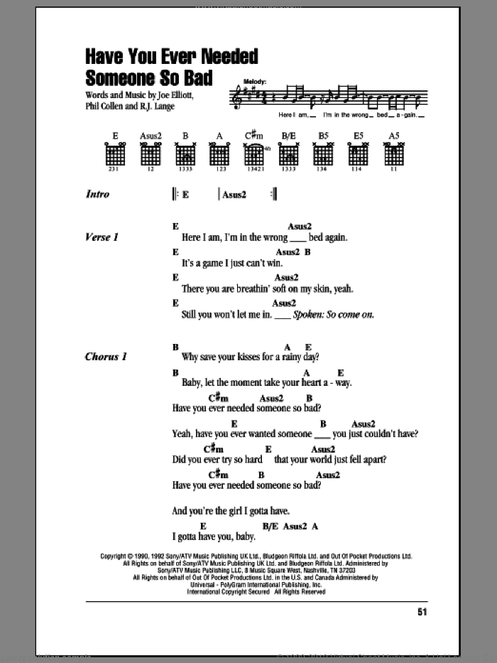 Leppard Have You Ever Needed Someone So Bad Sheet Music For Guitar