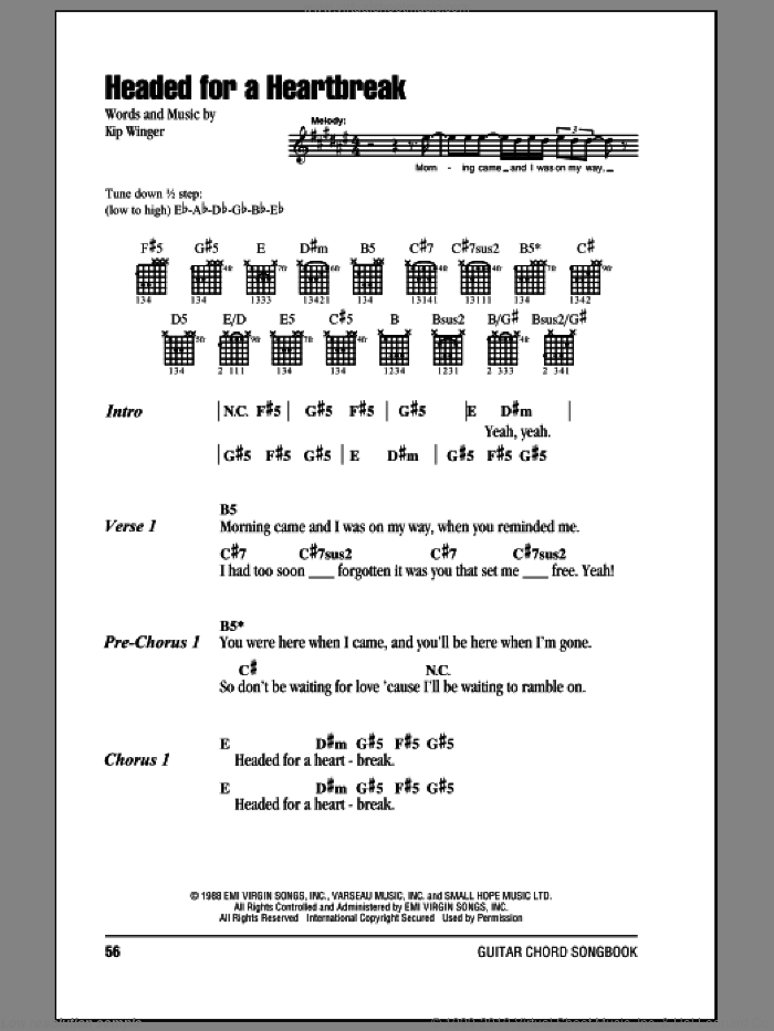Headed For A Heartbreak sheet music for guitar (chords) by Winger and Kip Winger, intermediate