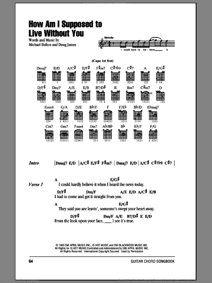 How Am I Supposed To Live Without You sheet music for guitar (chords) by Michael Bolton, intermediate guitar (chords). Score Image Preview.