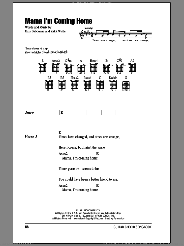 Mama, I'm Coming Home sheet music for guitar (chords) by Ozzy Osbourne and Zakk Wylde, intermediate