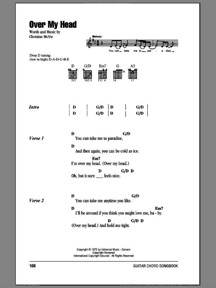 Over My Head sheet music for guitar (chords) by Christine McVie