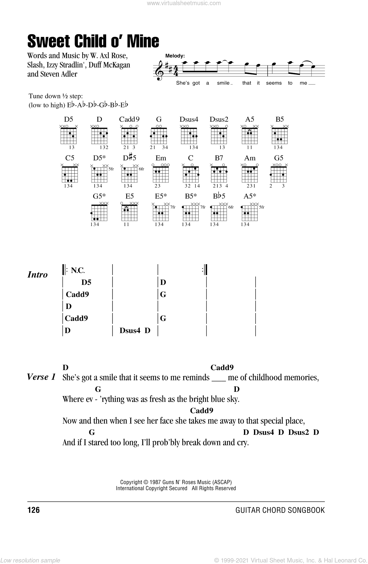 Sweet Child O' Mine sheet music for guitar (chords) by Axl Rose