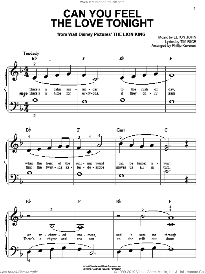 Can You Feel The Love Tonight sheet music for piano solo (big note book) by Tim Rice, Phillip Keveren and Elton John. Score Image Preview.