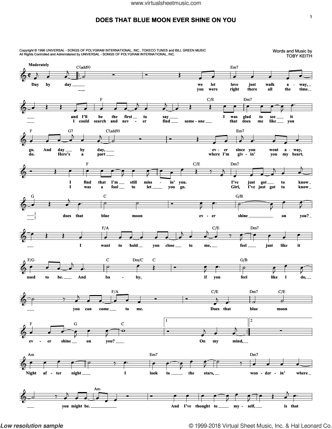 Does That Blue Moon Ever Shine On You sheet music for voice and other instruments (fake book) by Toby Keith, intermediate skill level