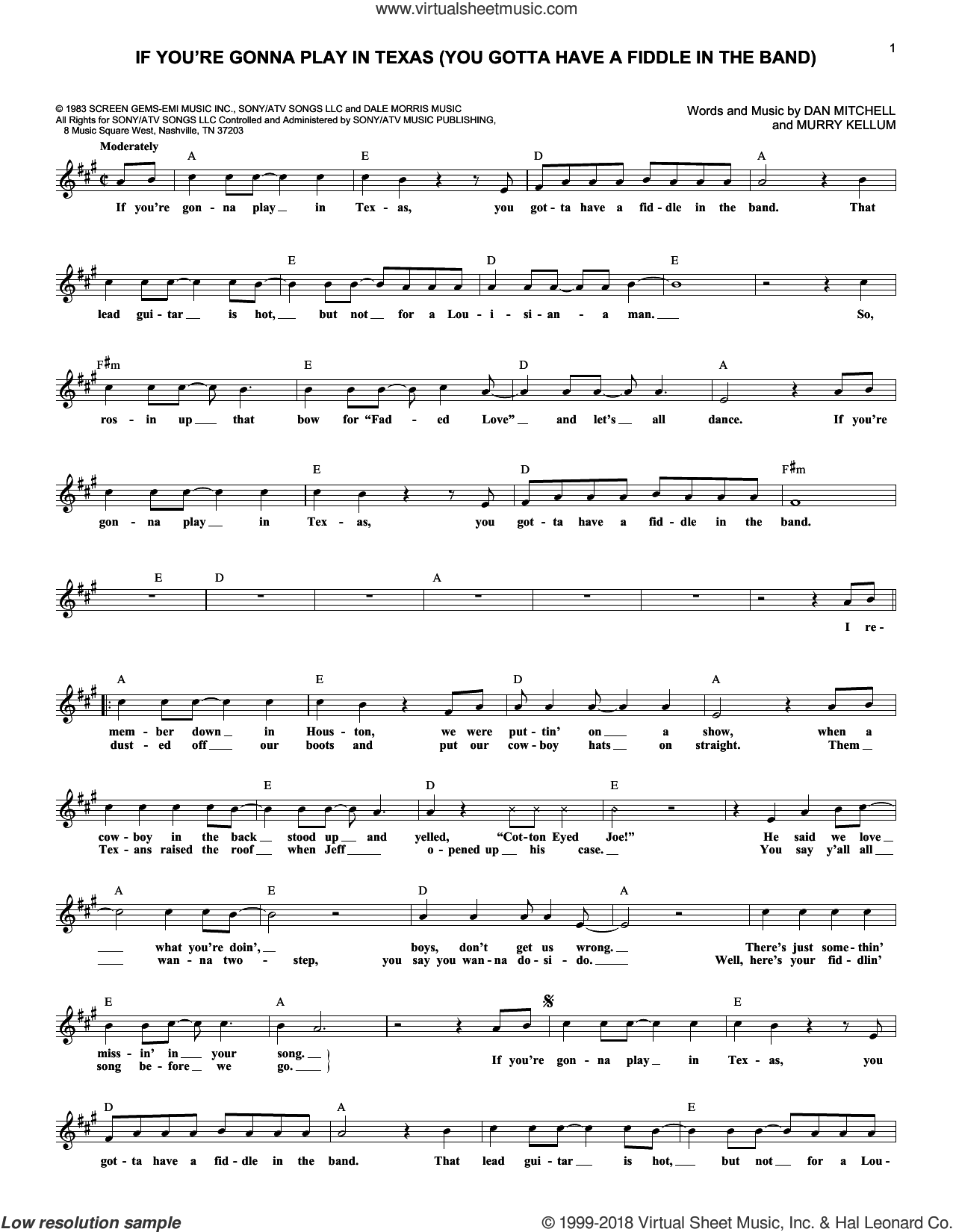 If You're Gonna Play In Texas (You Gotta Have A Fiddle In The Band) sheet music for voice and other instruments (fake book) by Murry Kellum and Alabama. Score Image Preview.