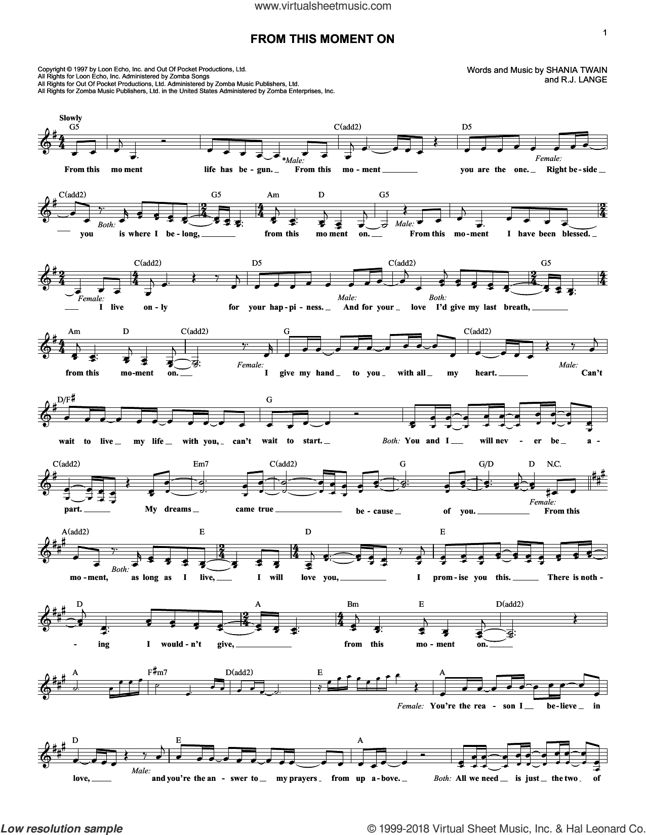 From This Moment On sheet music for voice and other instruments (fake book) by Shania Twain and Robert John Lange, intermediate skill level