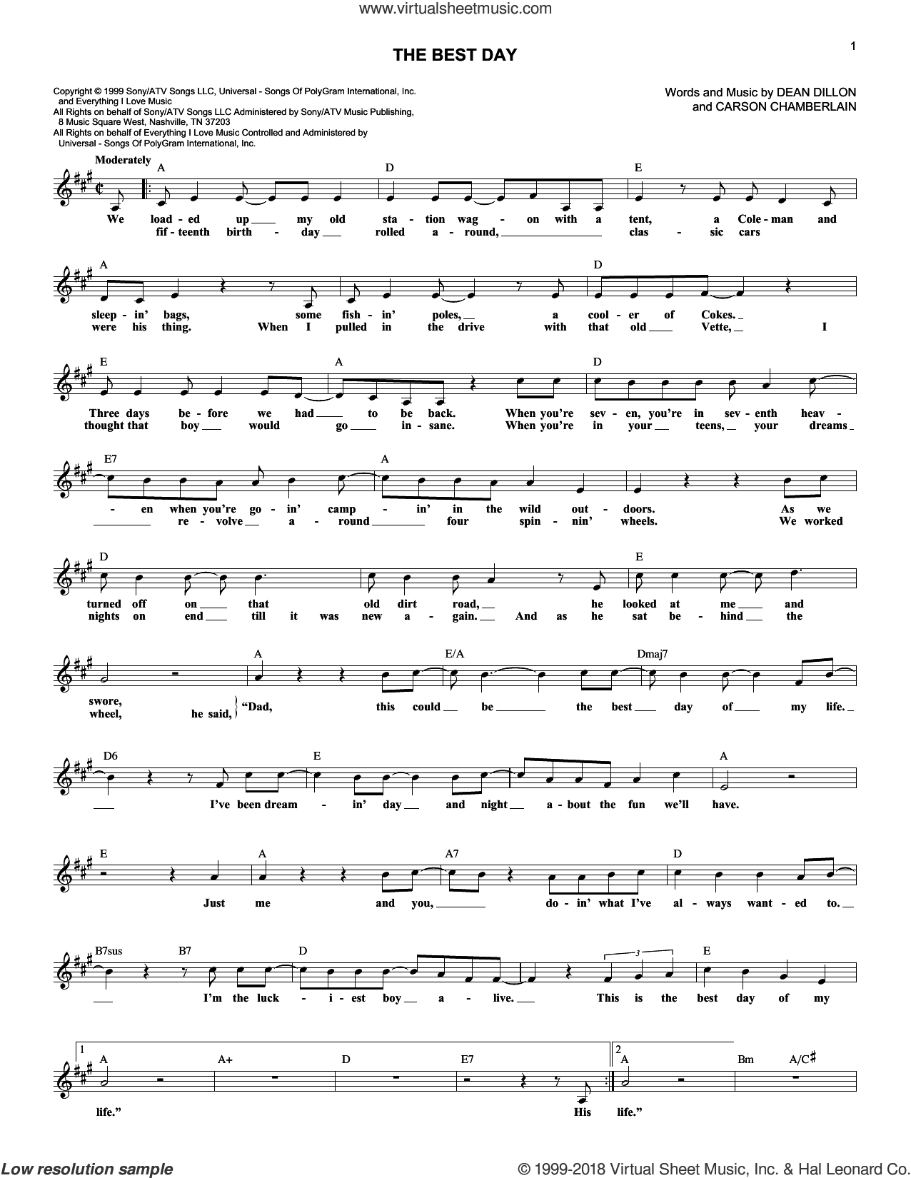 The Best Day sheet music for voice and other instruments (fake book) by George Strait, Carson Chamberlain and Dean Dillon, intermediate voice. Score Image Preview.