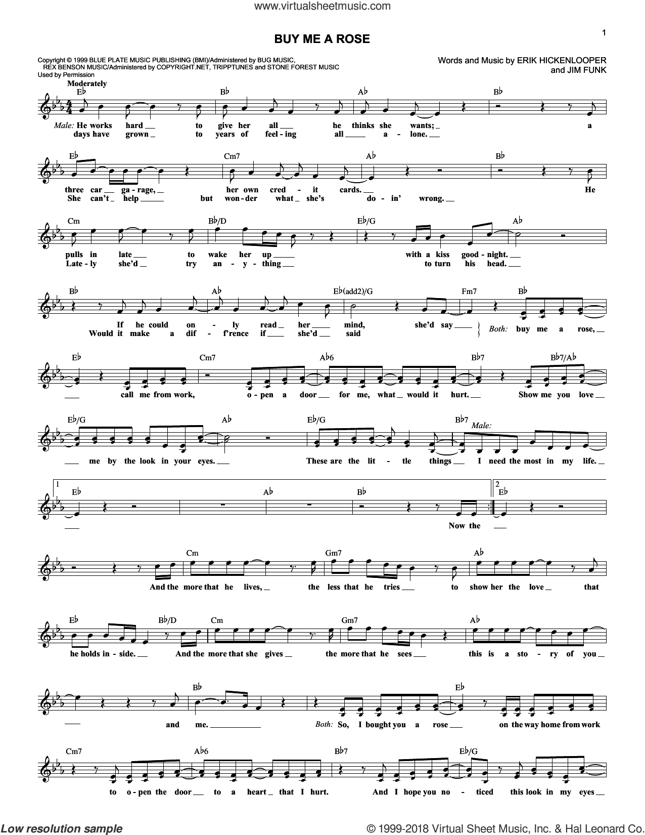Buy Me A Rose sheet music for voice and other instruments (fake book) by Kenny Rogers, Erik Hickenlooper and Jim Funk, intermediate skill level