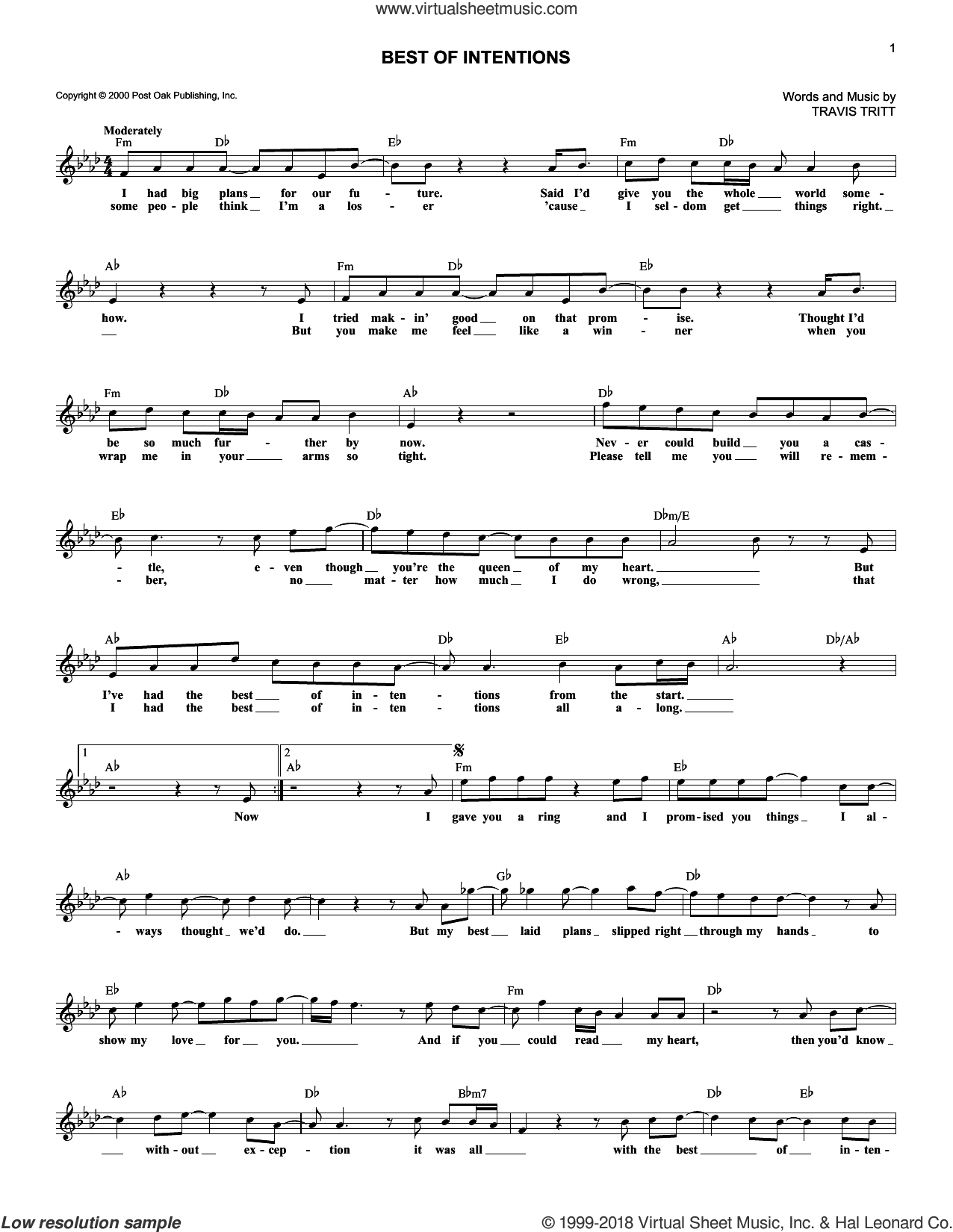 Best Of Intentions sheet music for voice and other instruments (fake book) by Travis Tritt, intermediate skill level