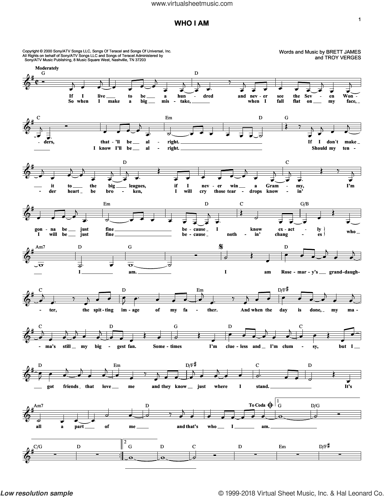 Who I Am sheet music for voice and other instruments (fake book) by Jessica Andrews, Brett James and Troy Verges, intermediate skill level