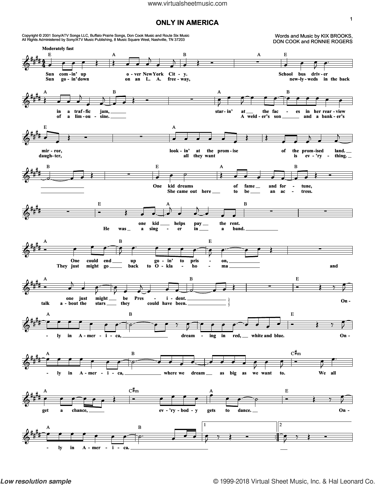 Only In America sheet music for voice and other instruments (fake book) by Brooks & Dunn and Don Cook, intermediate voice. Score Image Preview.