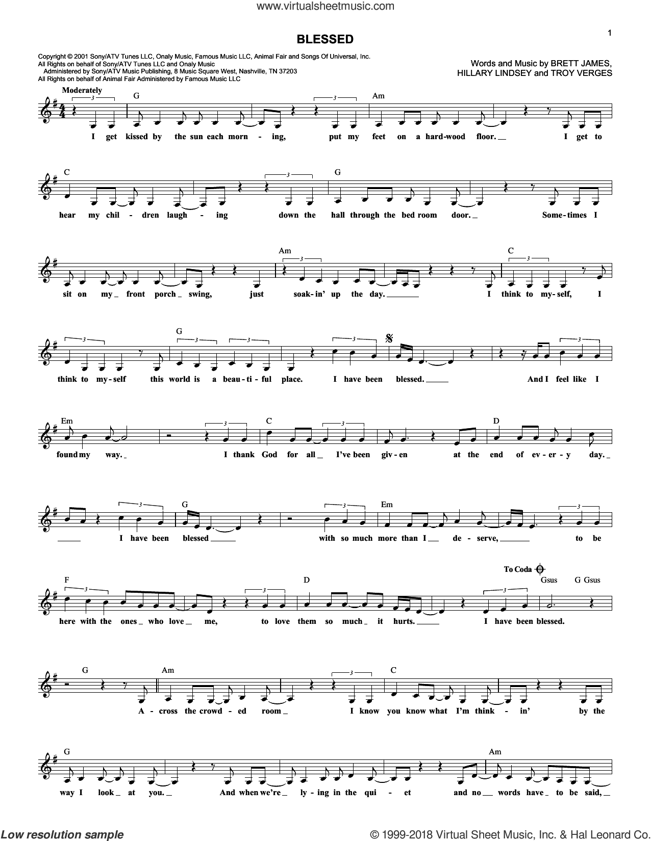 Blessed sheet music for voice and other instruments (fake book) by Martina McBride, Brett James, Hillary Lindsey and Troy Verges, intermediate skill level