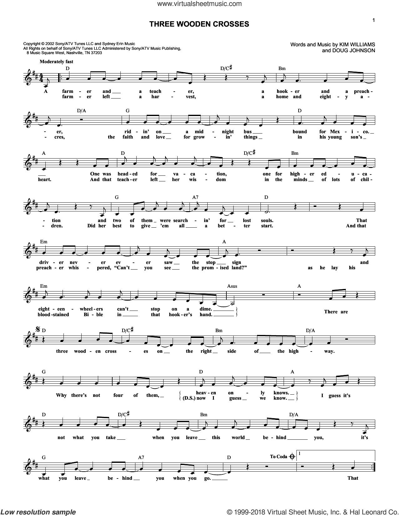 Three Wooden Crosses sheet music for voice and other instruments (fake book) by Randy Travis, Doug Johnson and Kim Williams, intermediate voice. Score Image Preview.