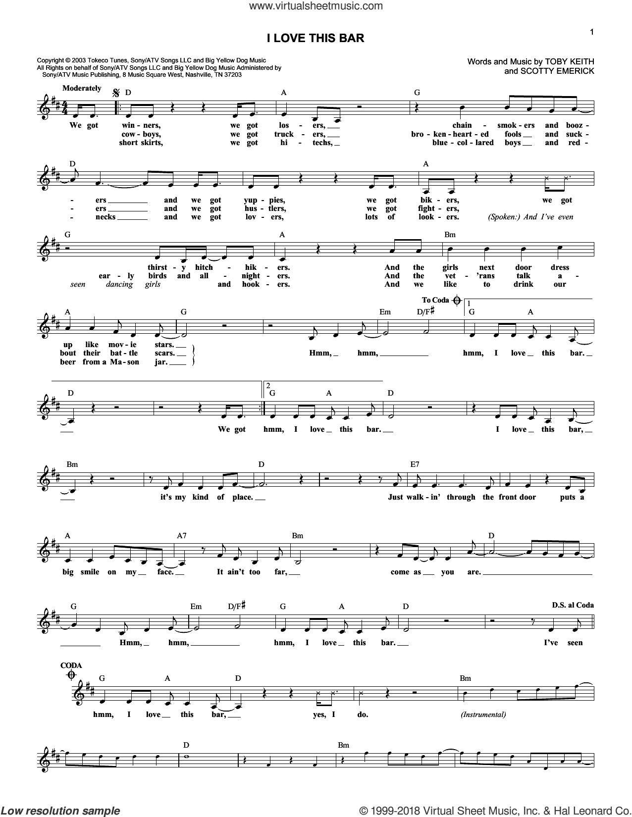 I Love This Bar sheet music for voice and other instruments (fake book) by Scotty Emerick and Toby Keith. Score Image Preview.