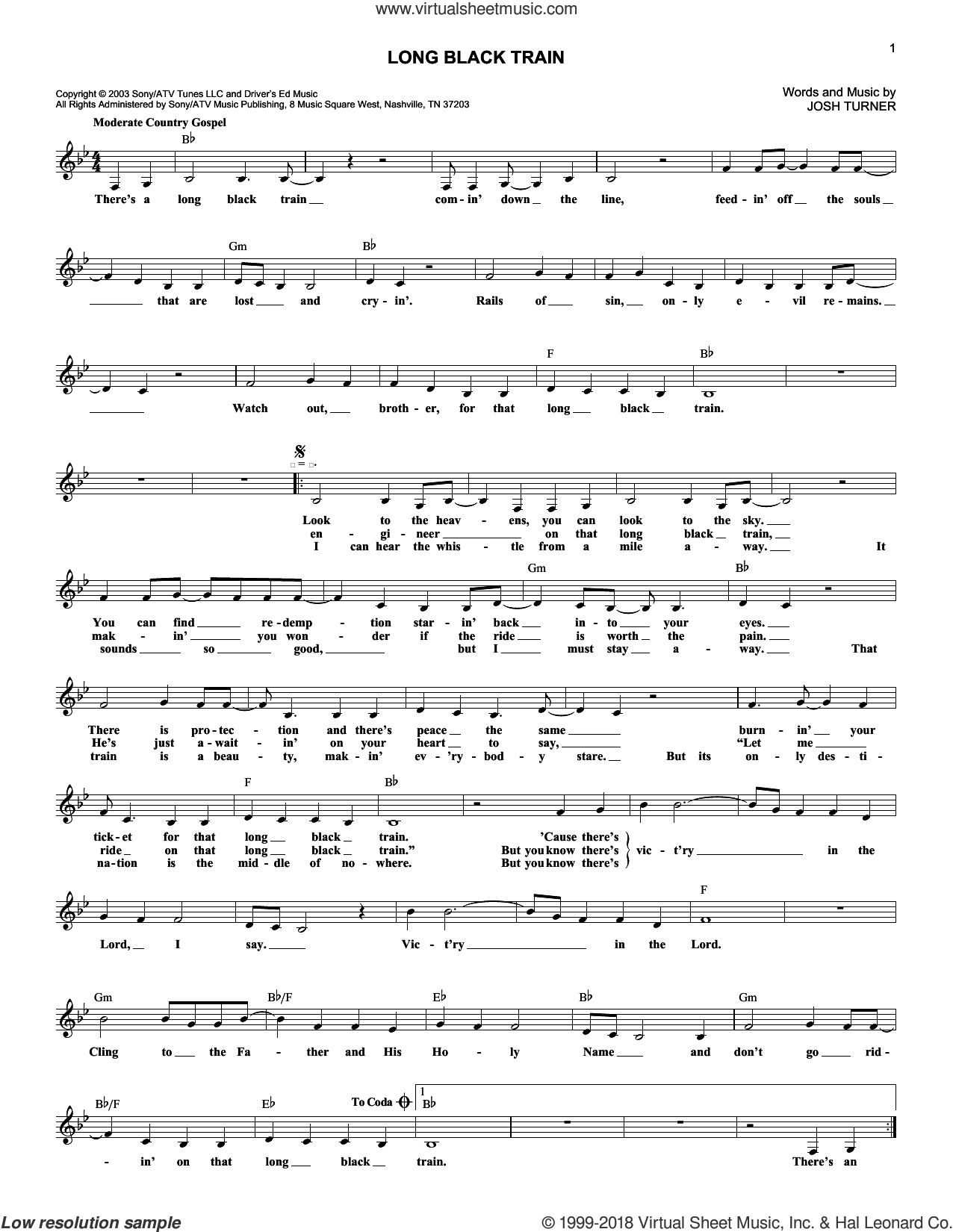 Long Black Train sheet music for voice and other instruments (fake book) by Josh Turner. Score Image Preview.
