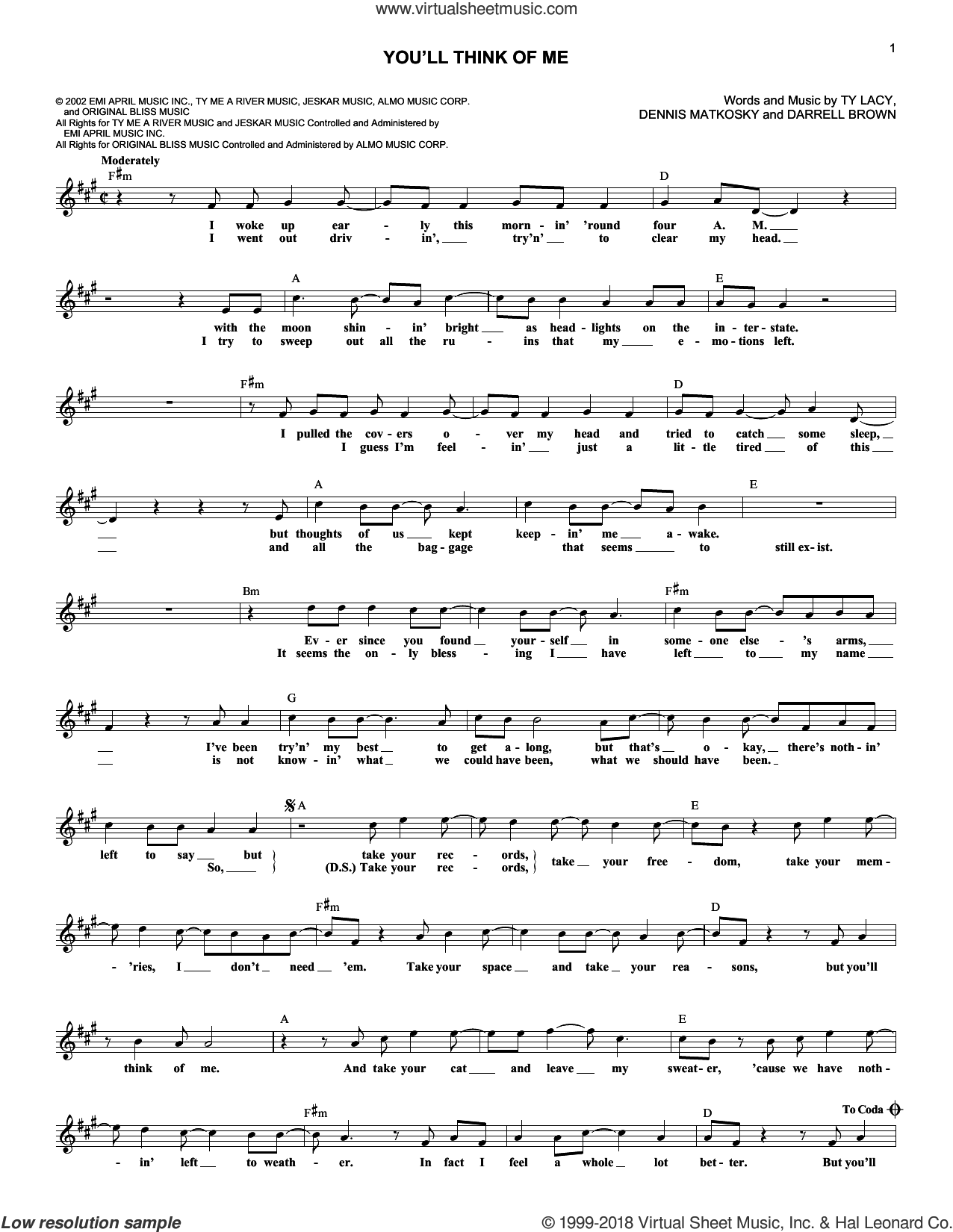 You'll Think Of Me sheet music for voice and other instruments (fake book) by Keith Urban, Darrell Brown, Dennis Matkosky and Ty Lacy. Score Image Preview.