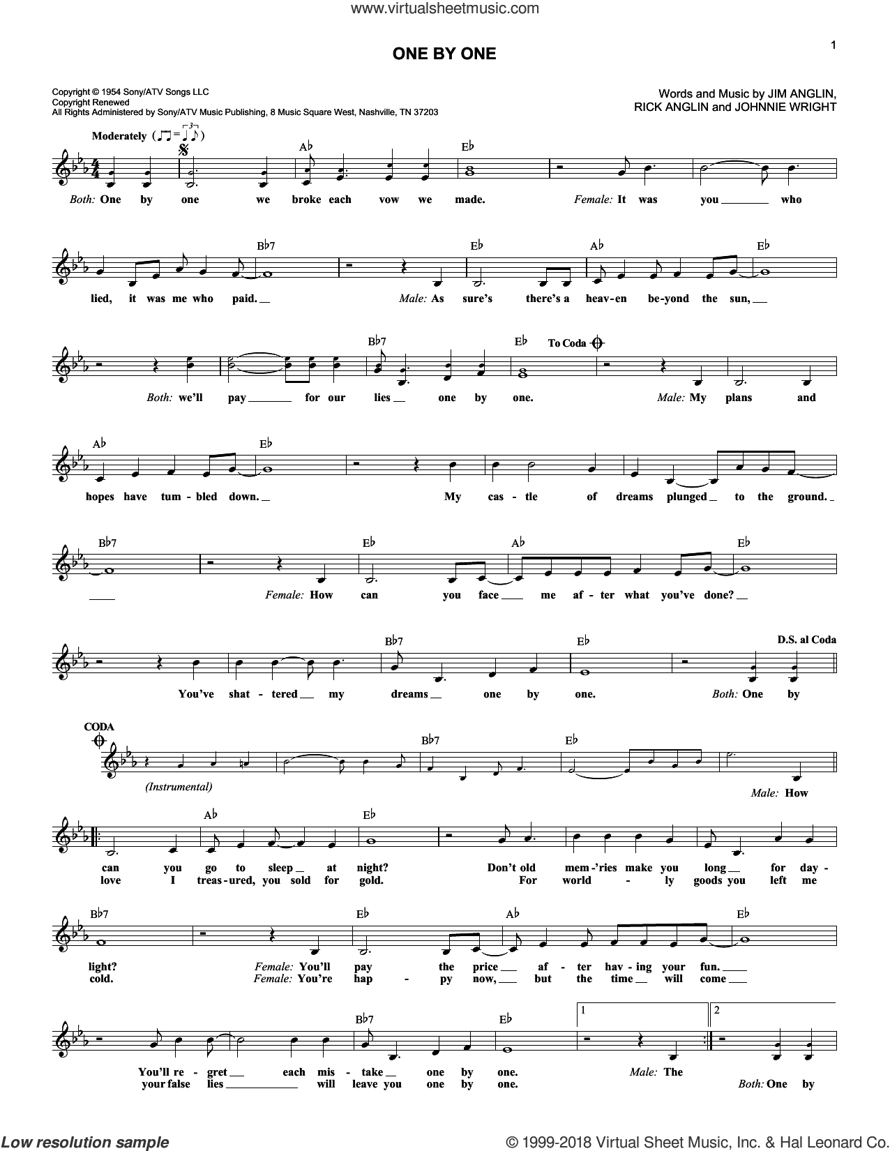 One By One sheet music for voice and other instruments (fake book) by Kitty Wells & Red Foley. Score Image Preview.