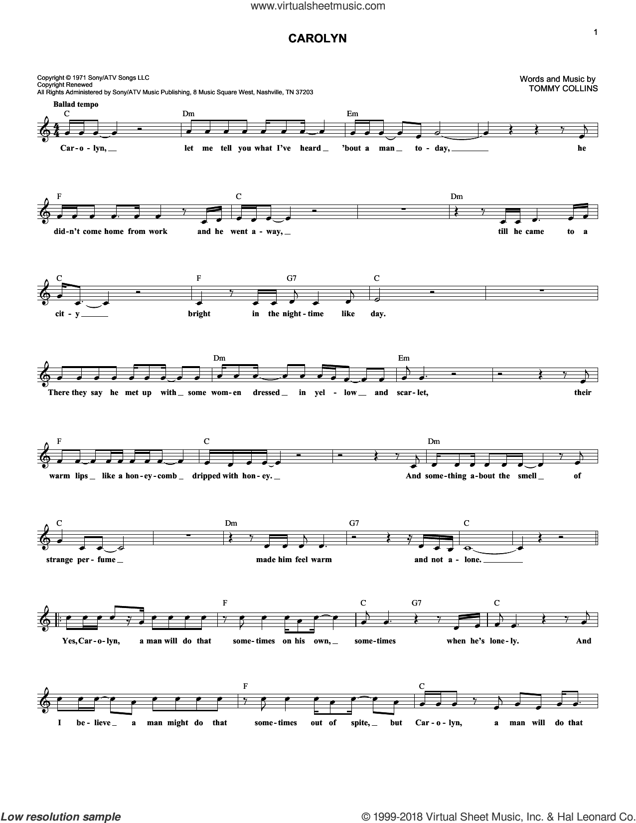 Carolyn sheet music for voice and other instruments (fake book) by Tommy Collins and Merle Haggard. Score Image Preview.