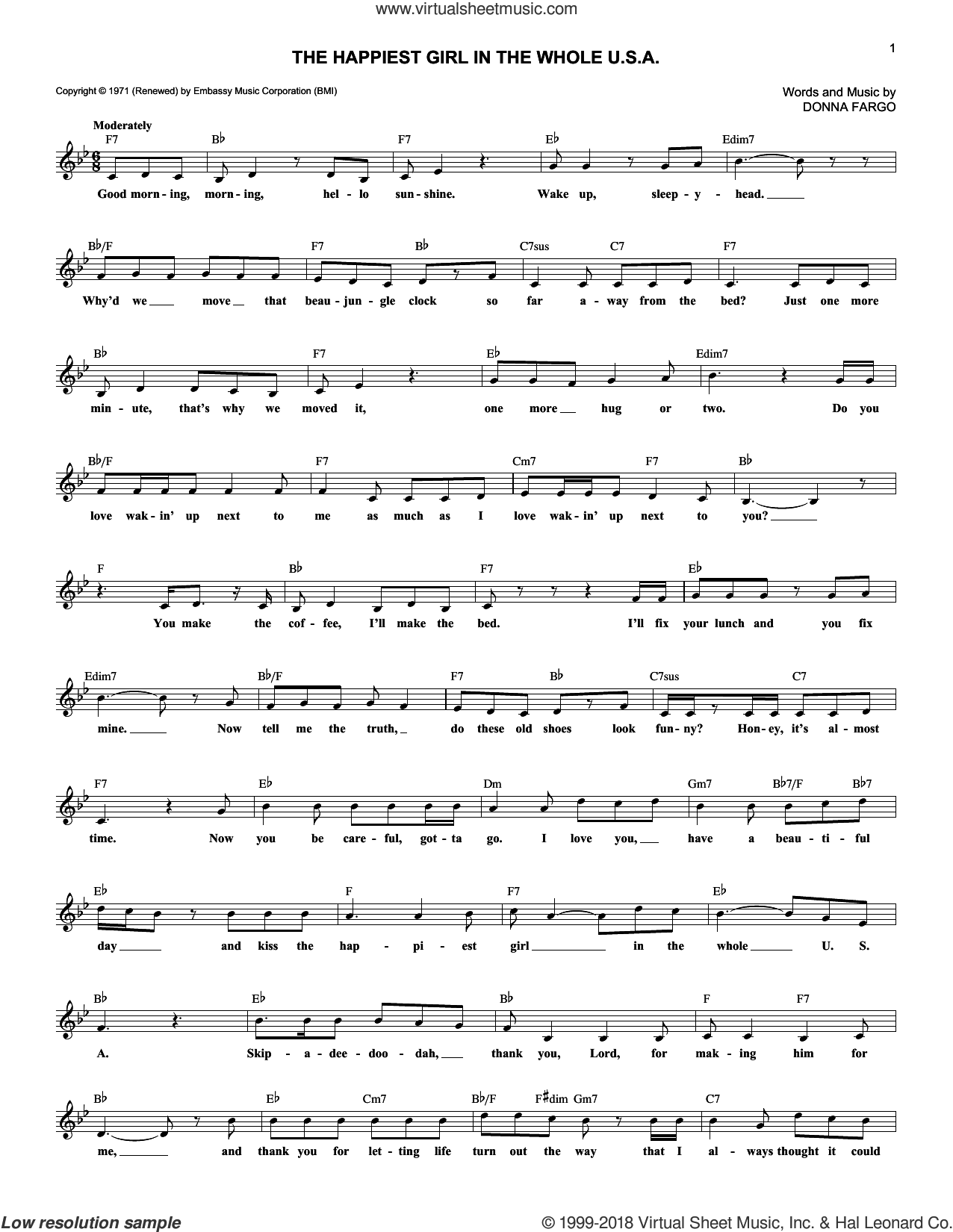 The Happiest Girl In The Whole U.S.A. sheet music for voice and other instruments (fake book) by Donna Fargo. Score Image Preview.