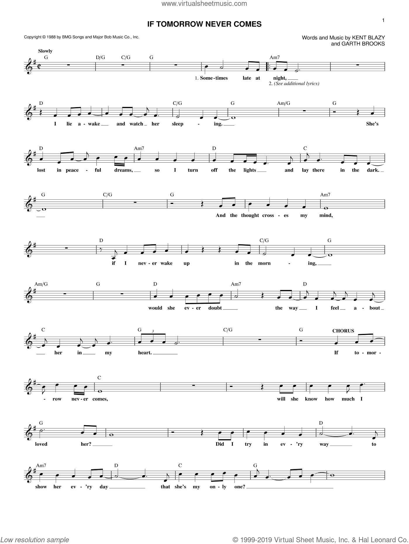 If Tomorrow Never Comes sheet music for voice and other instruments (fake book) by Garth Brooks and Kent Blazy. Score Image Preview.