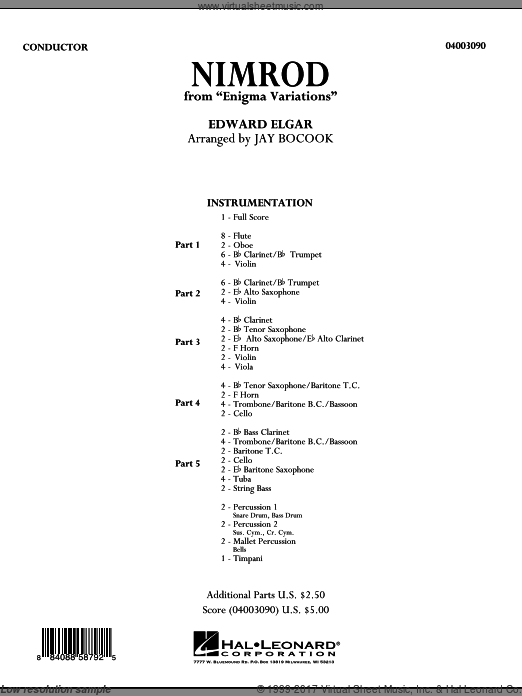 Nimrod (from Enigma Variations) (COMPLETE) sheet music for concert band by Edward Elgar