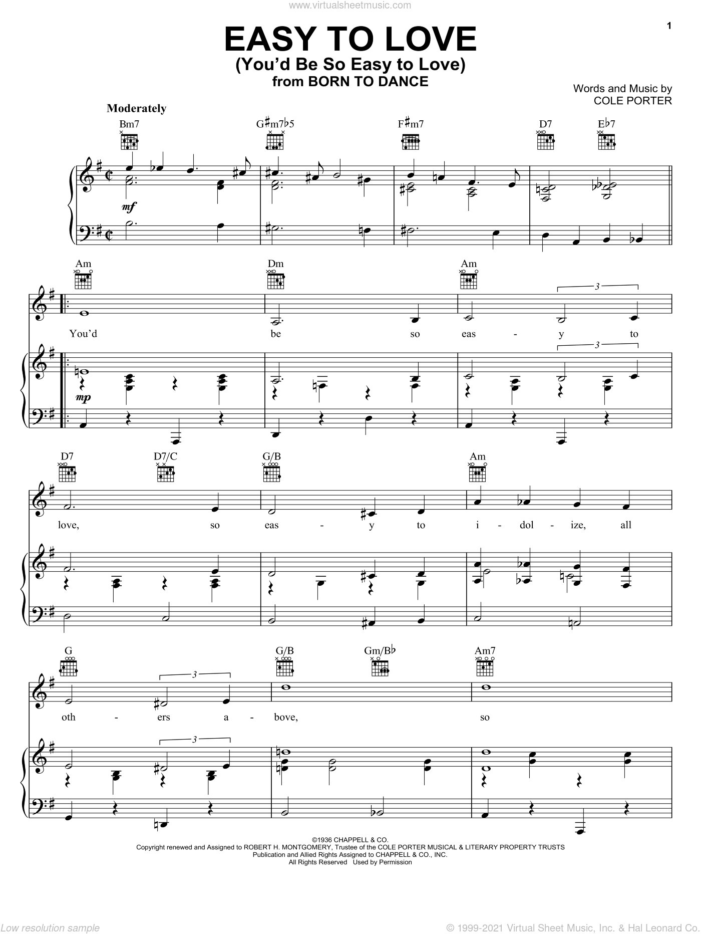 Easy To Love (You'd Be So Easy To Love) sheet music for voice, piano or guitar by Frank Sinatra