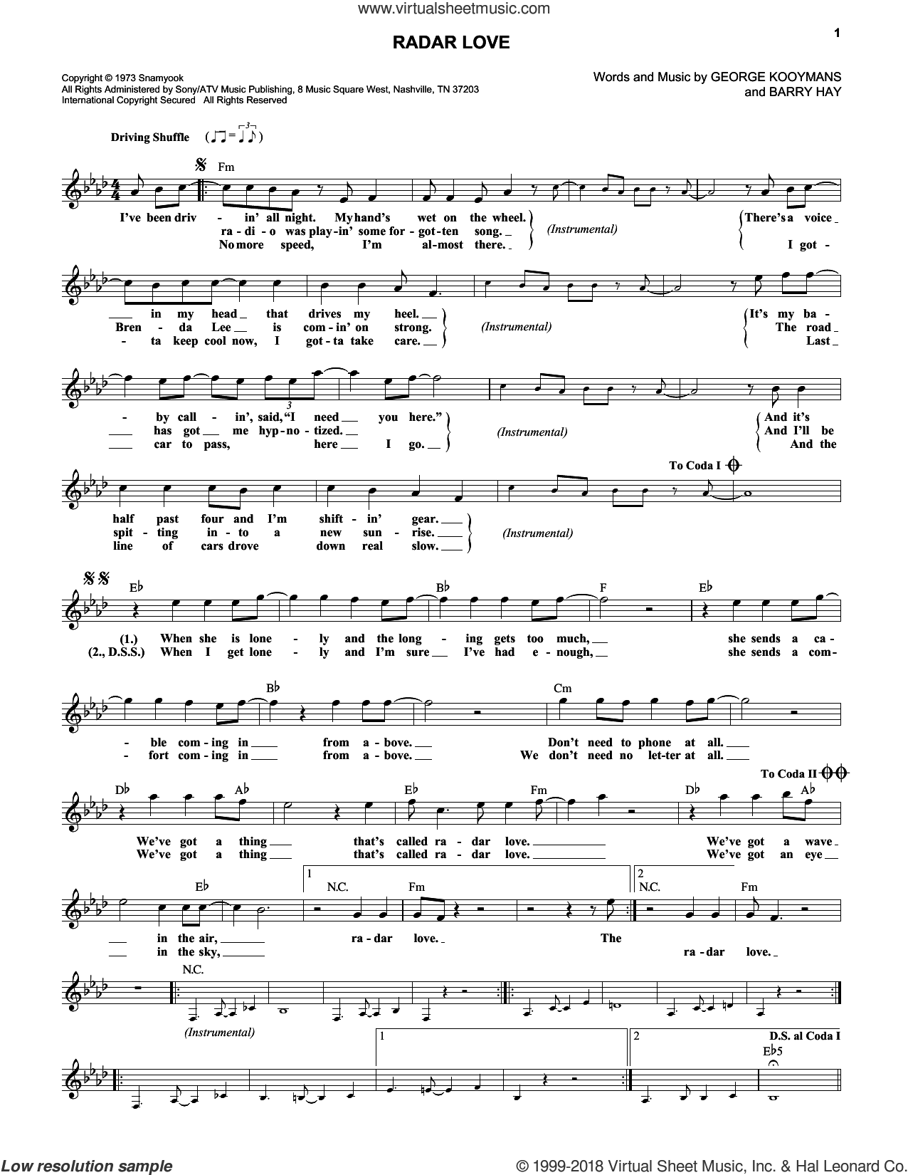 Radar Love sheet music for voice and other instruments (fake book) by Golden Earring, Barry Hay and George Kooymans, intermediate skill level