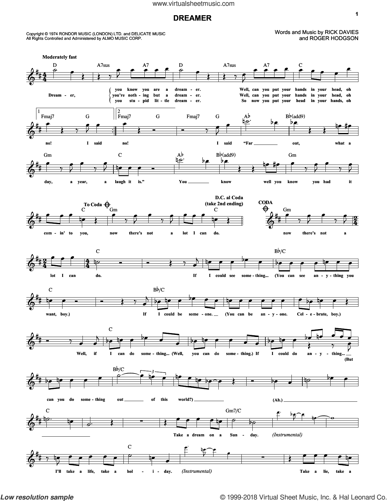 Dreamer sheet music for voice and other instruments (fake book) by Supertramp, intermediate voice. Score Image Preview.