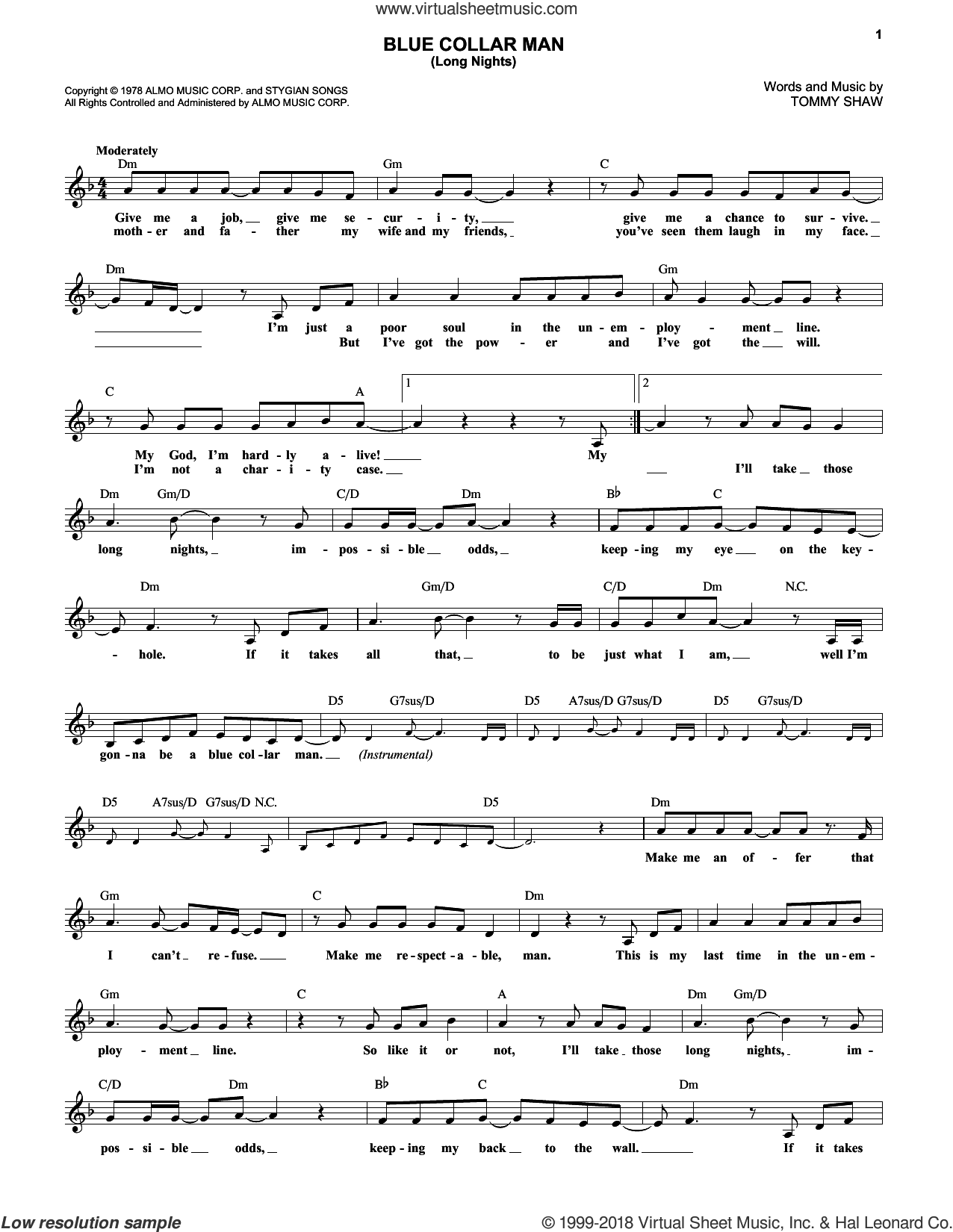 Blue Collar Man (Long Nights) sheet music for voice and other instruments (fake book) by Styx and Tommy Shaw, intermediate skill level