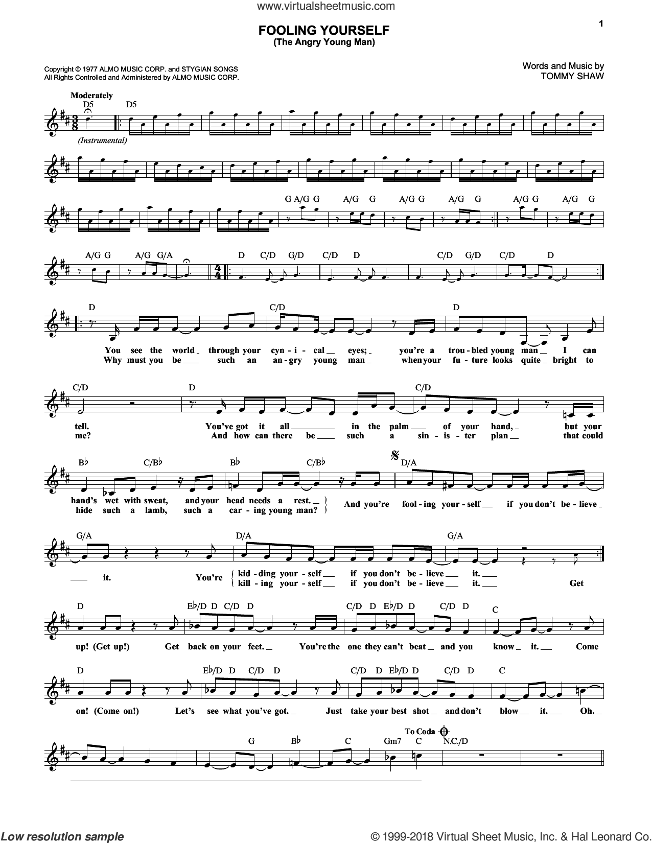 Fooling Yourself (The Angry Young Man) sheet music for voice and other instruments (fake book) by Styx and Tommy Shaw, intermediate skill level