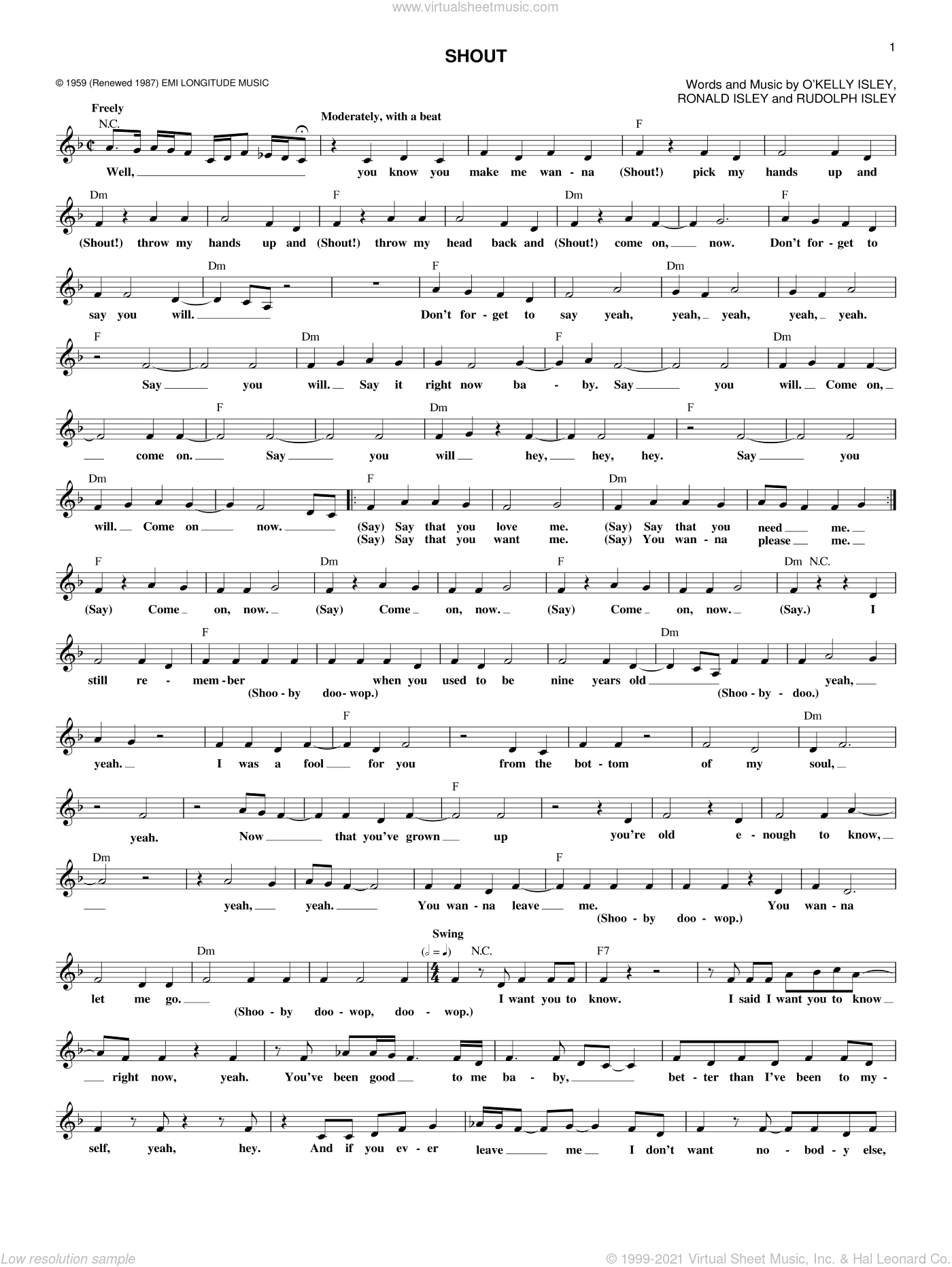 Shout sheet music for voice and other instruments (fake book) by The Isley Brothers and O Kelly Isley. Score Image Preview.