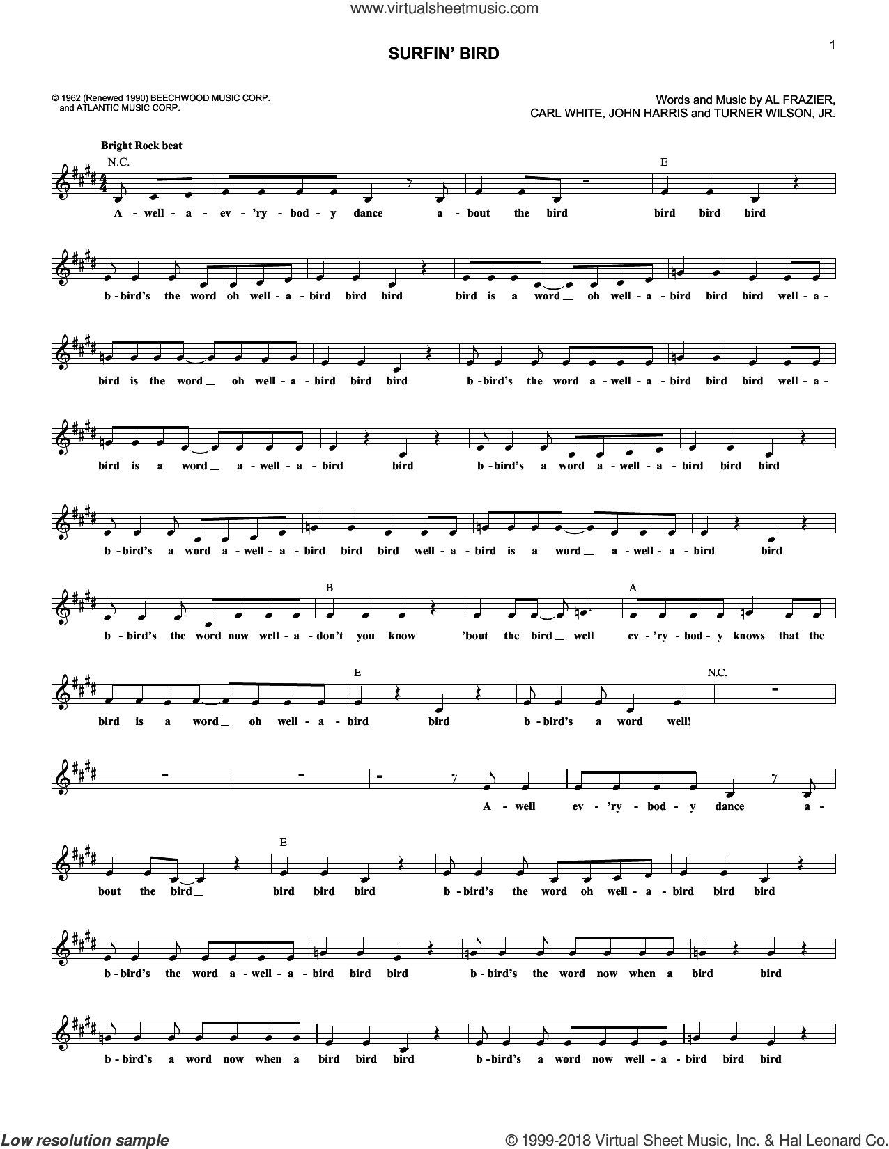 Surfin' Bird sheet music for voice and other instruments (fake book) by The Trashmen, Al Frazier, Carl White, John Harris and Turner Wilson, Jr., intermediate skill level