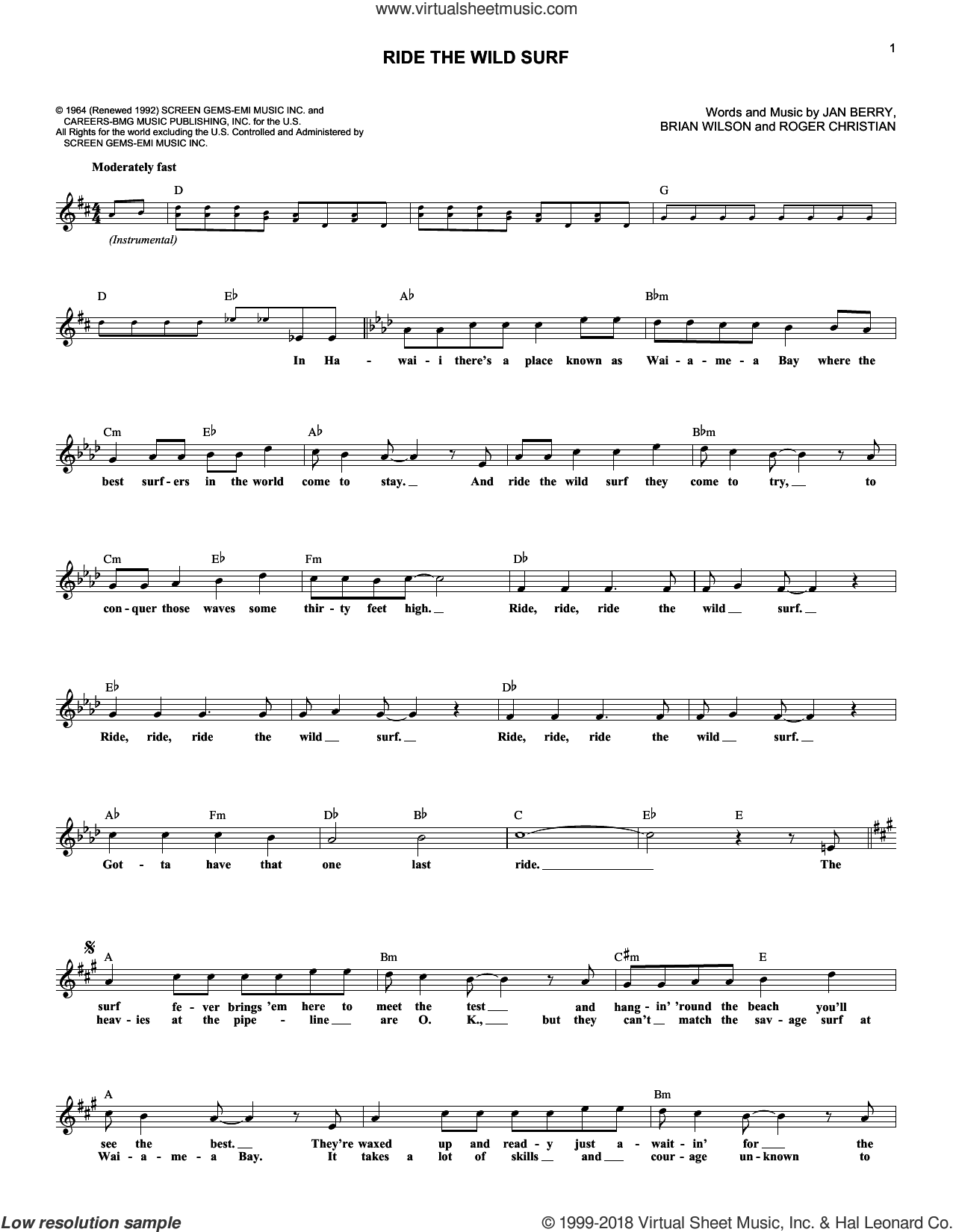 Ride The Wild Surf sheet music for voice and other instruments (fake book) by Jan & Dean, Brian Wilson, Jan Berry and Roger Christian, intermediate skill level
