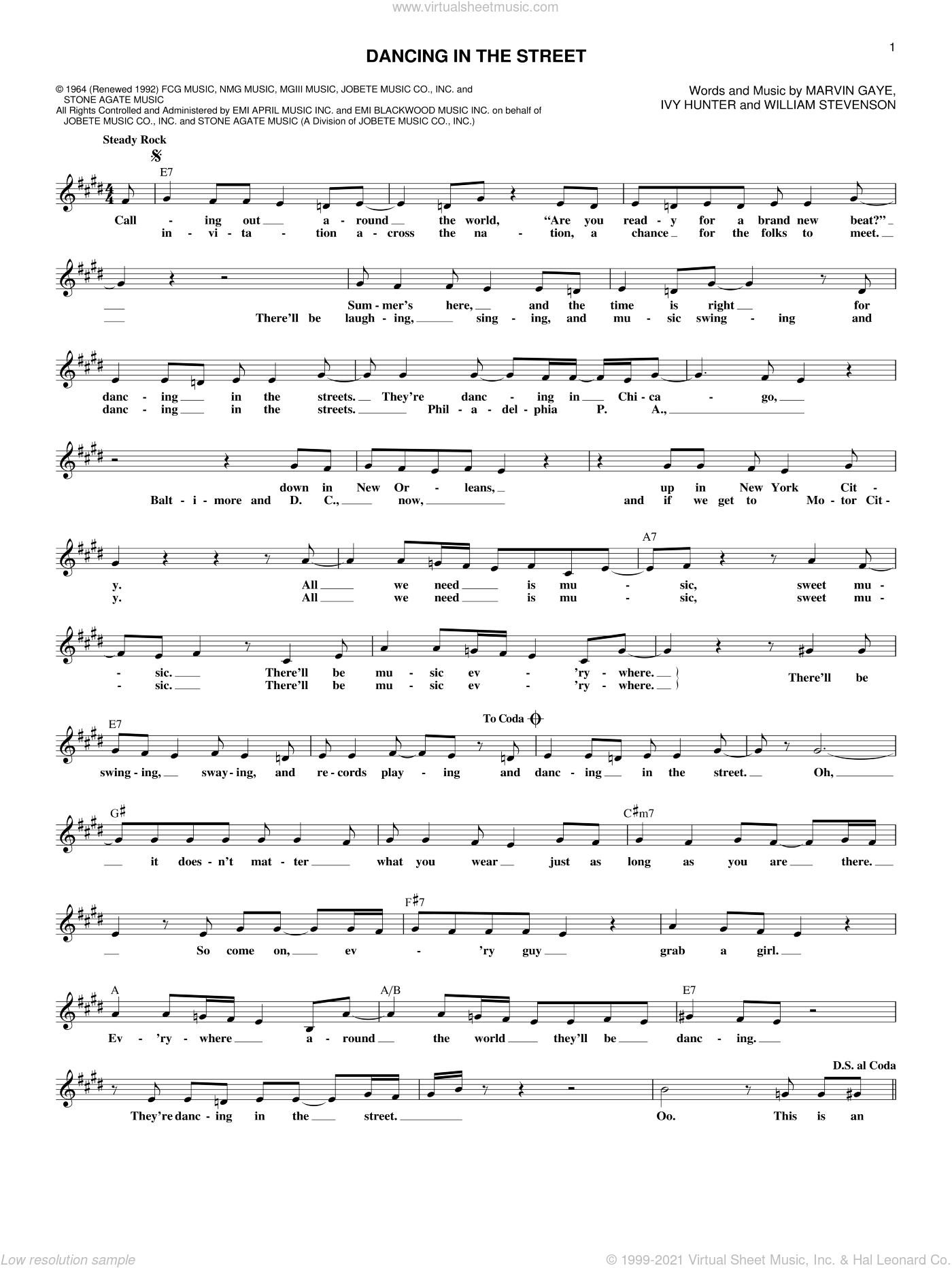 Dancing In The Street sheet music for voice and other instruments (fake book) by William Stevenson, Martha & The Vandellas, Ivy Hunter and Marvin Gaye. Score Image Preview.