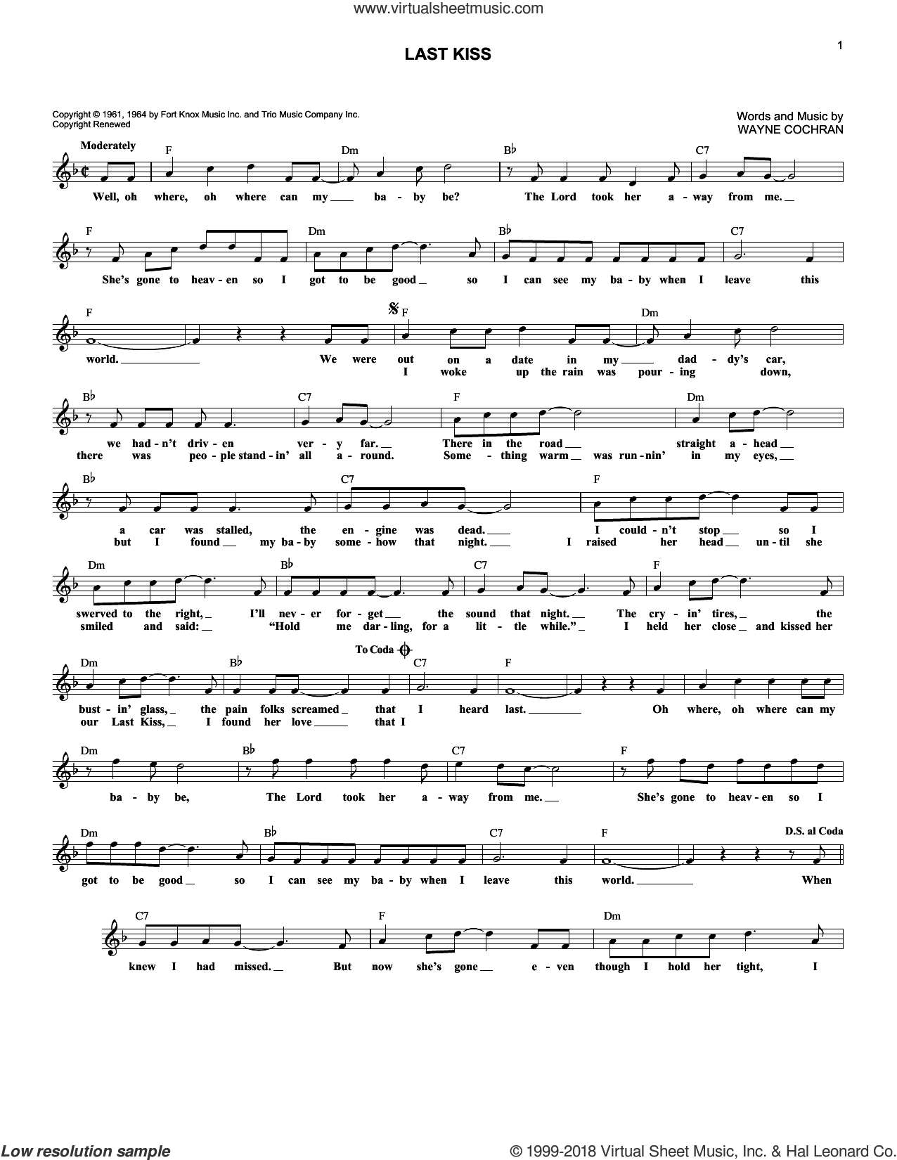 Last Kiss sheet music for voice and other instruments (fake book) by Wayne Cochran and Pearl Jam. Score Image Preview.