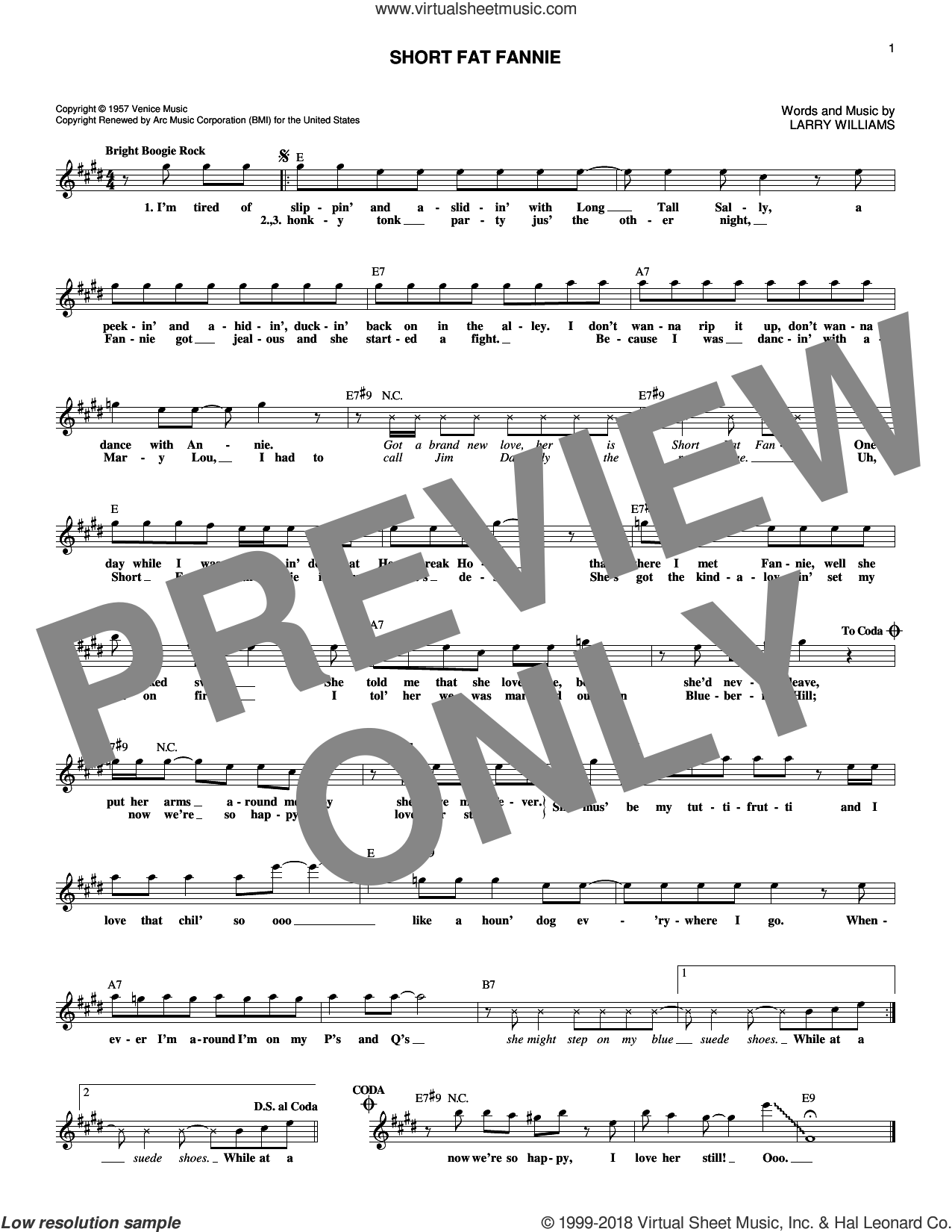 Short Fat Fannie sheet music for voice and other instruments (fake book) by Larry Williams, intermediate skill level