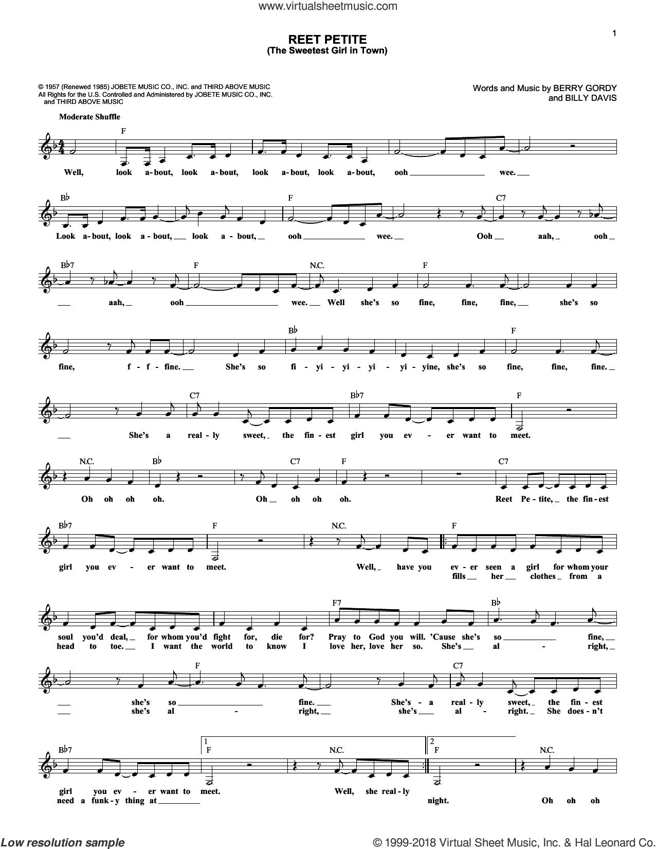 Reet Petite (The Sweetest Girl In Town) sheet music for voice and other instruments (fake book) by Jackie Wilson, Berry Gordy and Billy Davis, intermediate skill level