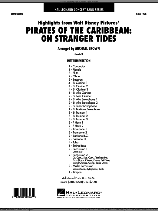 Highlights from Pirates Of The Caribbean: On Stranger Tides (COMPLETE) sheet music for concert band by Hans Zimmer