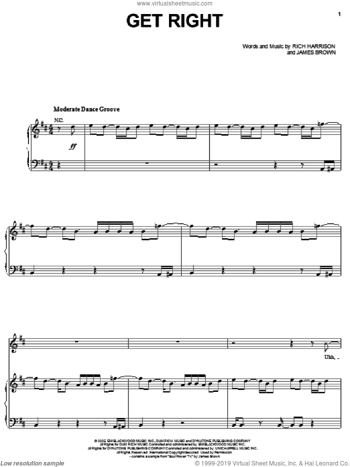Get Right sheet music for voice, piano or guitar by Rich Harrison