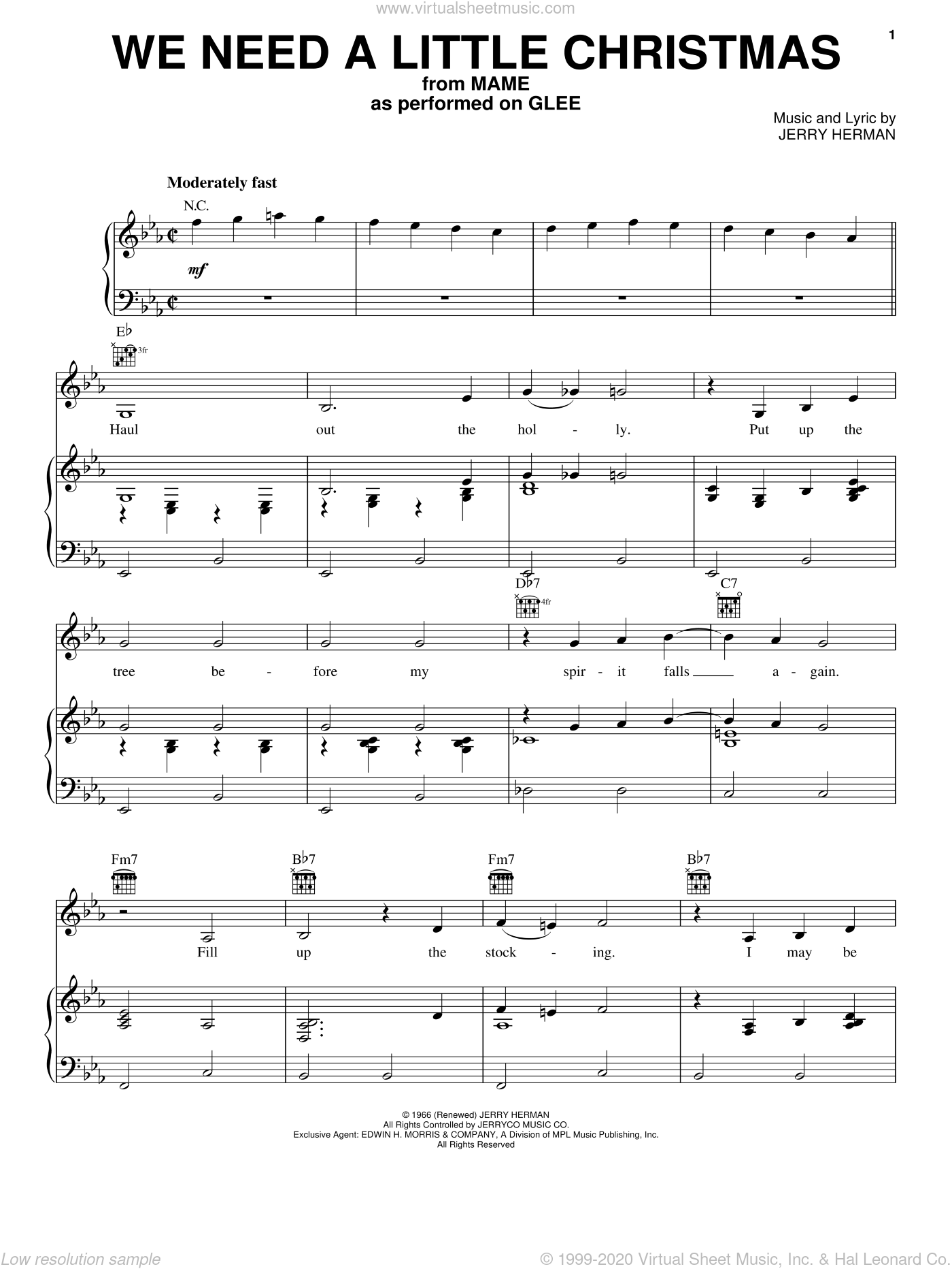 We Need A Little Christmas sheet music for voice, piano or guitar by Glee Cast, Miscellaneous and Jerry Herman, intermediate skill level