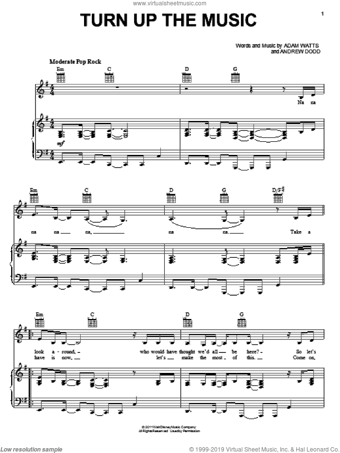 Turn Up The Music sheet music for voice, piano or guitar by Lemonade Mouth (Movie), Adam Hicks, Bridgit Mendler, Hayley Kiyoko, Naomi Scott, Adam Watts, Andrew Dodd and Blake Michael, intermediate skill level