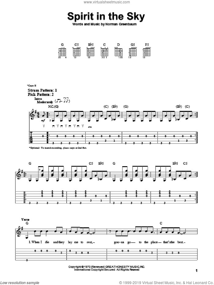 Spirit In The Sky sheet music for guitar solo (easy tablature) by Norman Greenbaum, easy guitar (easy tablature)