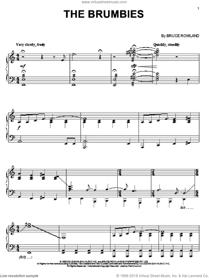 The Brumbies sheet music for piano solo by Bruce Rowland. Score Image Preview.
