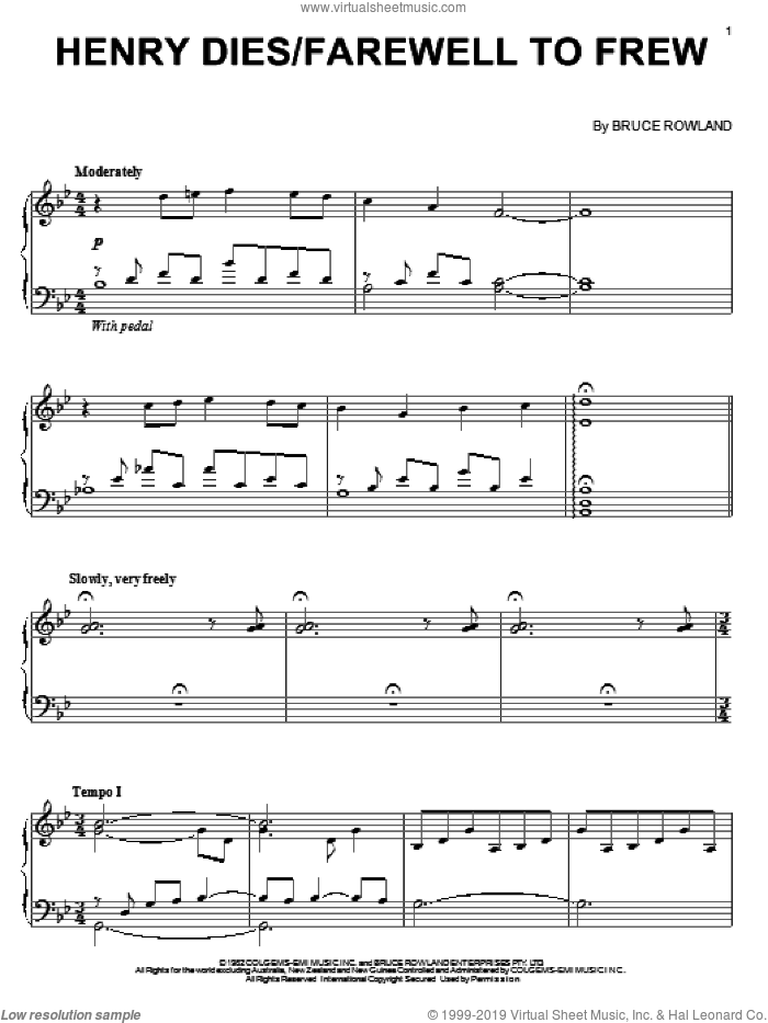 Henry Dies/Farewell To Frew sheet music for piano solo by Bruce Rowland, intermediate. Score Image Preview.