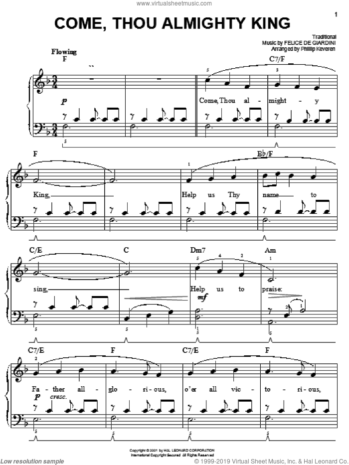Come, Thou Almighty King sheet music for piano solo by Felice de Giardini, Phillip Keveren and Miscellaneous, easy skill level