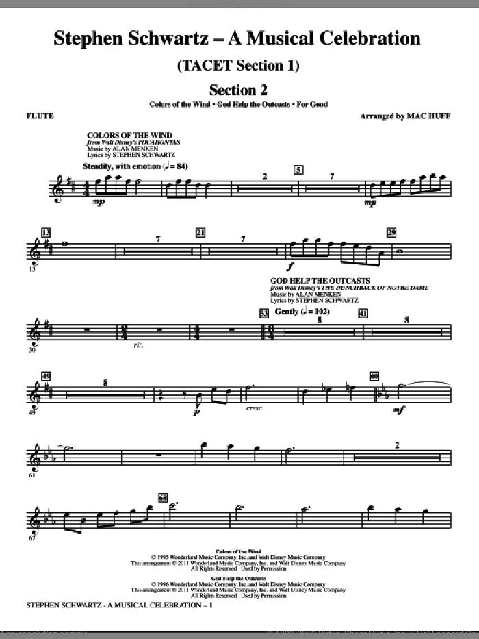 Stephen Schwartz: A Musical Celebration (Medley) (complete set of parts) sheet music for orchestra/band by Mac Huff, Jane M. Campbell, Matthias Claudius and Stephen Schwartz, intermediate skill level