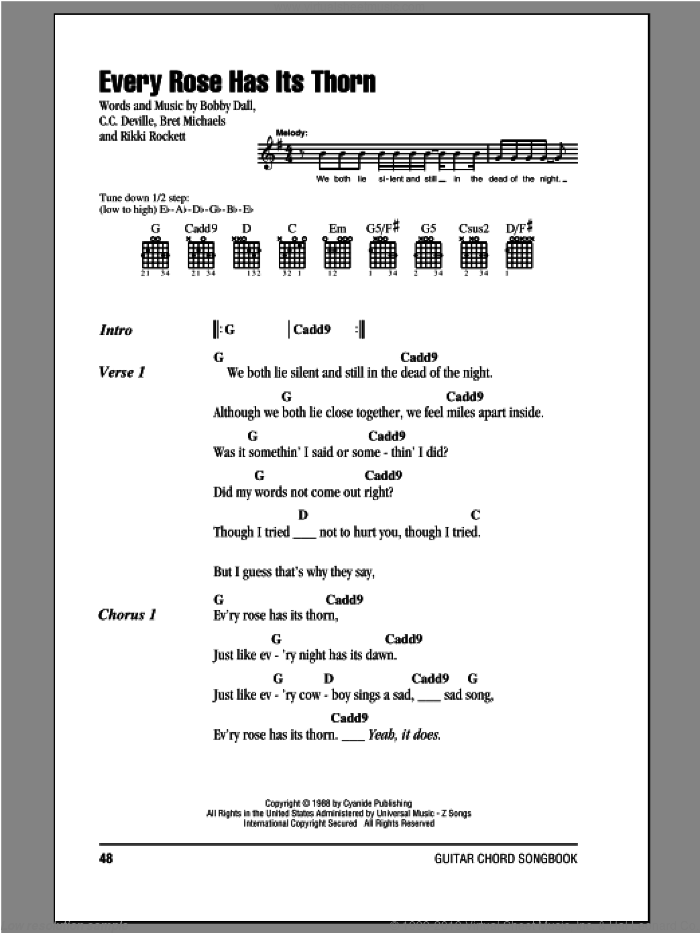 Every Rose Has Its Thorn sheet music for guitar (chords) by Poison, Bobby Dall, Bret Michaels, C.C. Deville and Rikki Rockett, intermediate. Score Image Preview.
