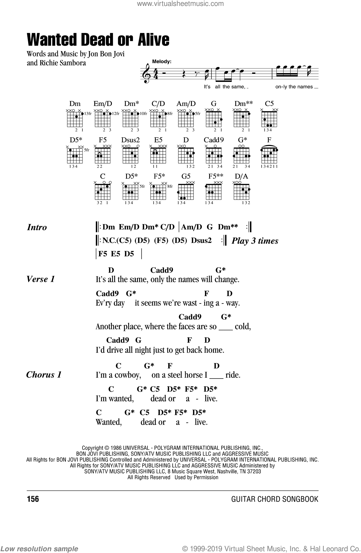 Jovi Wanted Dead Or Alive Sheet Music For Guitar Chords Pdf