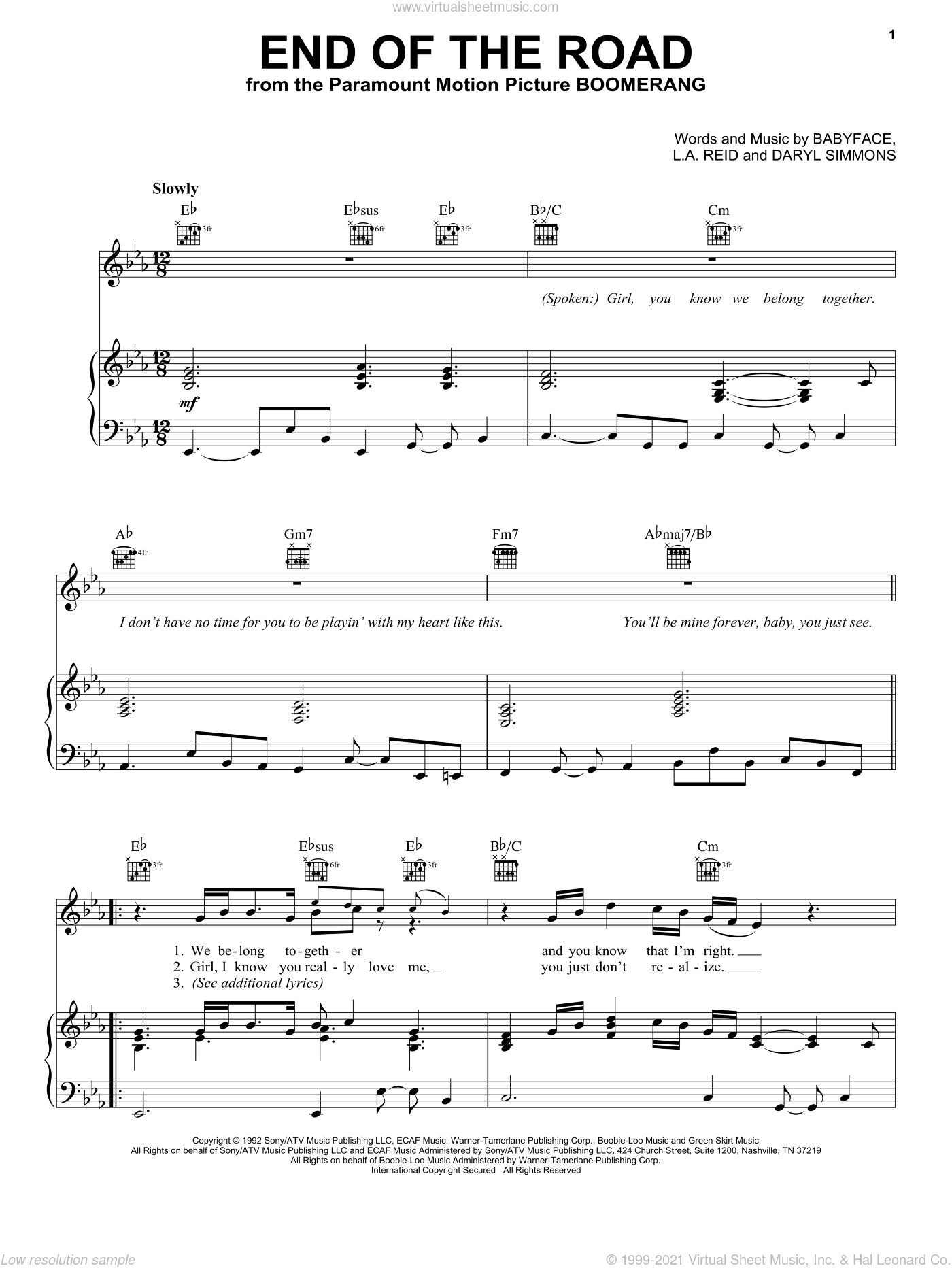 End Of The Road sheet music for voice, piano or guitar by L.A. Reid, Boyz II Men, Babyface and Daryl Simmons. Score Image Preview.