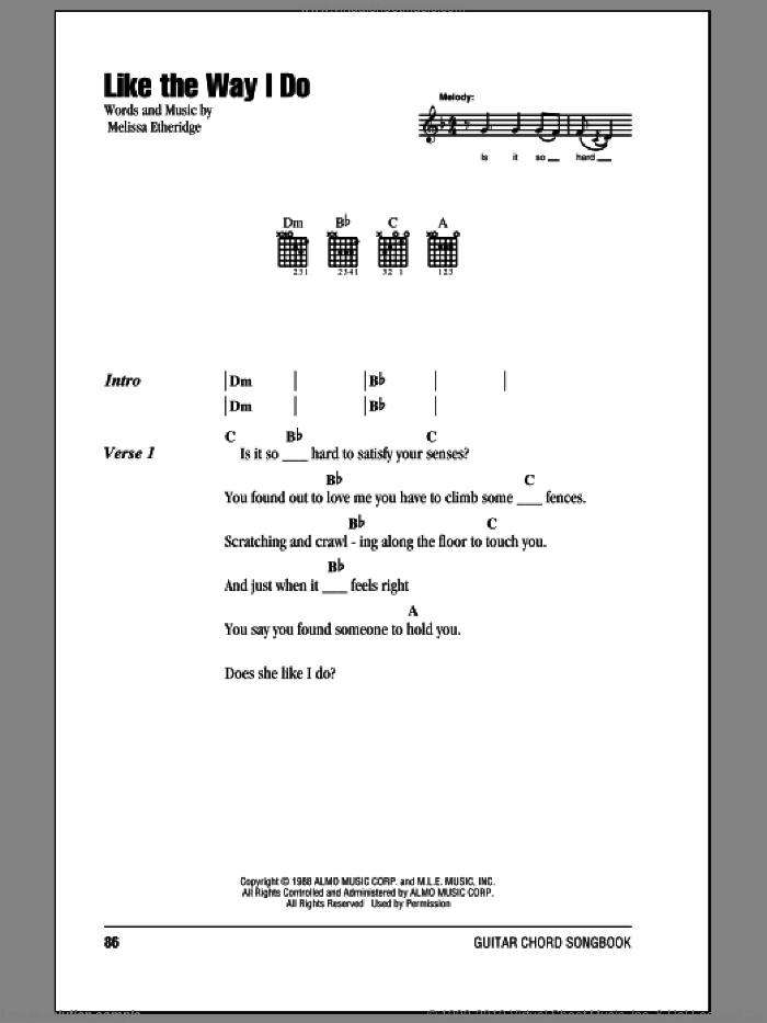 Like The Way I Do sheet music for guitar (chords) by Melissa Etheridge